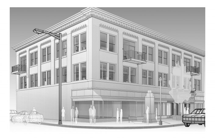 Peregrine Square Second Floor Office Exterior Rendering