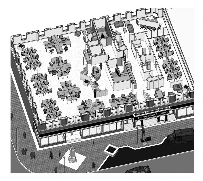 Peregrine Square Second Floor Office Isometric Rendering